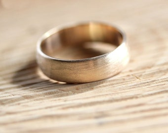 Wide Men's Gold Wedding Band, Recycled 10k Yellow Gold 6mm Brushed Low Dome Man's Gold Wedding Ring - Made in Your Size