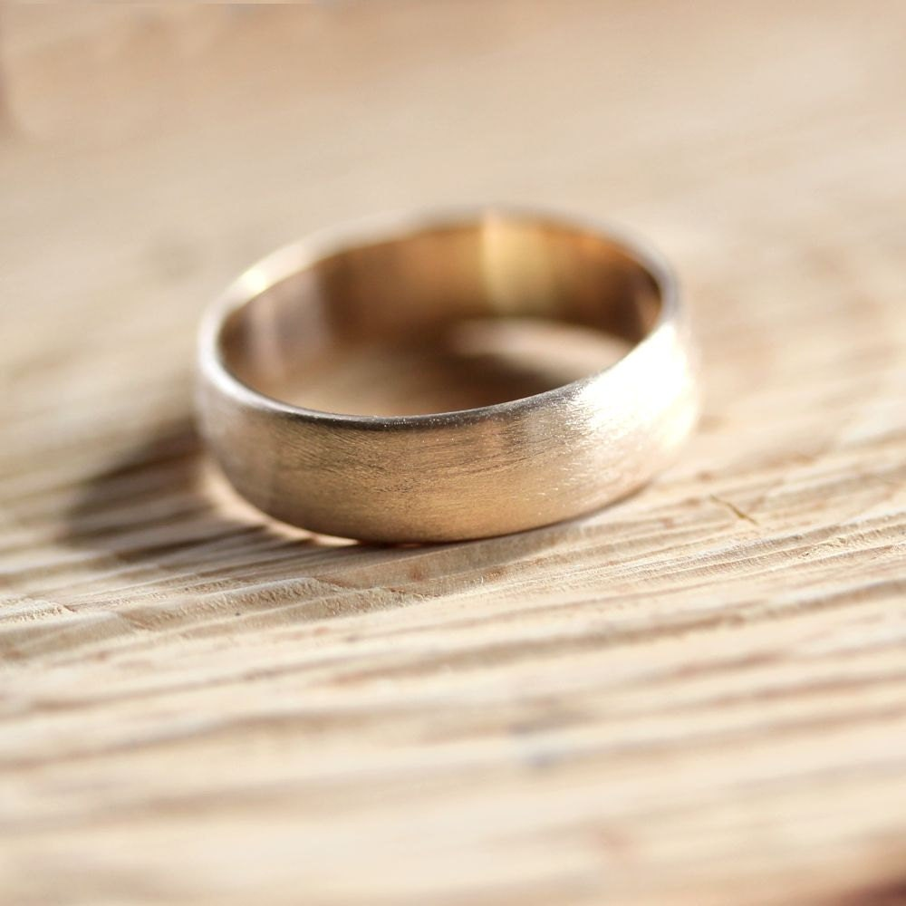 Wide Mens Gold Wedding Band Recycled 10k Yellow 6mm