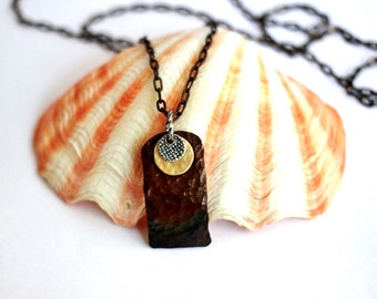 Hammered Oxidized Copper Necklace, Mixed Metals Layered Charms, Pendant Jewelry By Hendywood