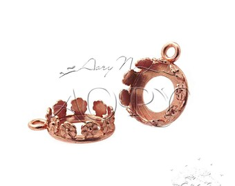 1pcs Copper Plated Brass Flower Crown Bezel Setting for 10mm Cabochon, 1037CO, Shiny Copper Color, Made in Israel, Top Quality