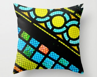 "STAINED GLASS WINDOW 16"" X 16"" Pillow Cover. Photo Art. Multi color, Abstract Pattern. Mod, Fresh, Cool, Hipster. Art Deco. Church. Faith."