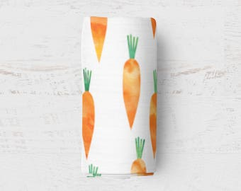Carrot Swaddle, Watercolour Muslin Swaddle, Muslin Wrap Blanket, Baby Swaddle, Nursing Cover, Watercolor Swaddle Blanket, Muslin fabric