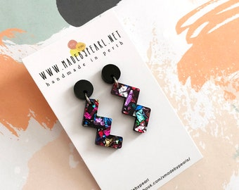 THE ZIG | Black Round Stud + Rainbow Glitter Zig Dangle | Lightweight Statement Earrings | Hypoallergenic Surgical Steel for Sensitive Skin