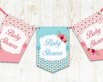 Shabby Chic Baby Shower Bunting - Baby Shower Banner - Baby Party Decoration, Pink & Blue, Baby Girl - Baby Boy - Shower Decoration