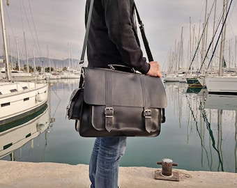 Professional Bag, X-LARGE Leather Messenger Bag, Full Grain Leather Briefcase, 17 inch Laptop Bag, Handmade in Greece, Gift for Him.