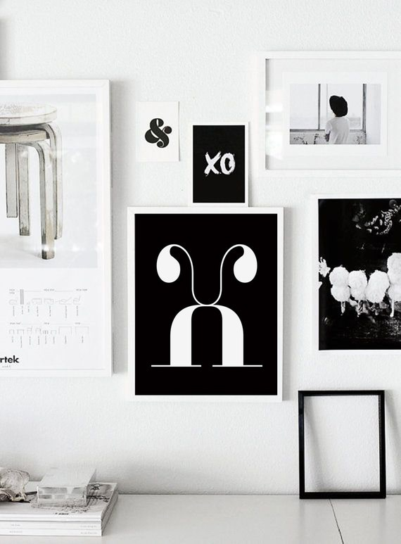 X letter scandinavian poster printable wall art nursery