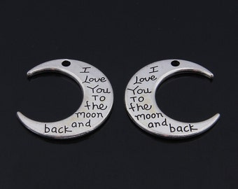 20pcs 30x28mm antiqued Silver i love you to the moon and back charms findings pendants