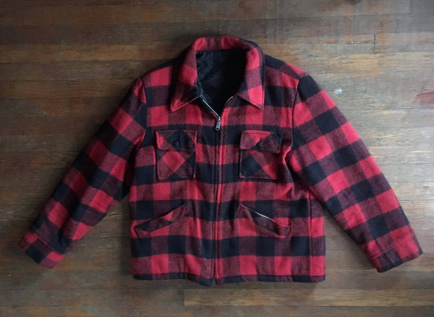 vintage mens red buffalo plaid wool zip up hunting jacket coat. Black Bedroom Furniture Sets. Home Design Ideas