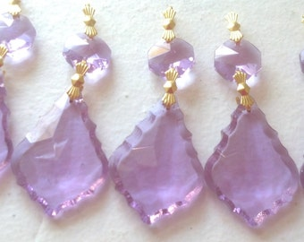 5 Lilac French Chandelier Crystal Ornaments 38mm Lavender Purple