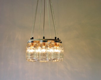 glass jar lighting. Mason Jar Chandelier, Hanging Lighting Fixture, Ring With 7 Clear Quart Jars Glass C