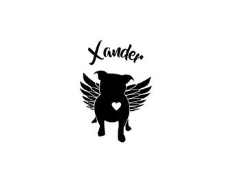Pit Bull Angel Decal   Pit Bull with Wings Decal   Pit Bull Decal   Memorial Pit Bull Decal   Personalized Pit Bull Decal