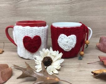 Mug Set with Mug Warmers - Set of Two - Gift for Two, Valentine's Day Mug Set