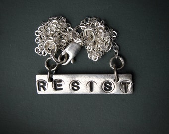 Resist necklace, resist jewelry, Me Too, Time's up, inspirational quote, quote jewelry, protest jewelry, women's march, charm, hand stamped