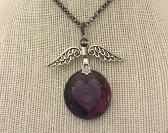 Necklace Glass Pendant Heart Takes Flight With Wings