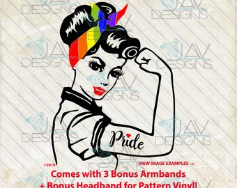 Gay Pride ©Faith Rosie SVG , 3 Bonus Armbands, Two ways to cut With or Without pattern vinyl, Rosie, Rosie svg, Cut Files, Silhouette