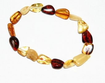 Baltic Amber bracelet for adults, multi color leaves beads 67