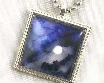 Hand Painted Alcohol Ink Necklace Pendant Bat Flying in the Night Sky