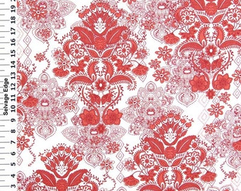 SALE   Dark Red Damask On White Cotton Home Dec Fabric   One Yard   44 Inch Home  Decor Fabric