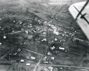 "Vintage 1928 Bloomfield CT Center aerial Black and White Photograph  8""x 10""  Bloomfield CT History"