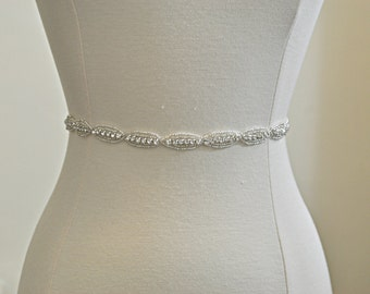 "14""- 35"" Beaded Sash- crystal sash, rhinestone sash, wedding sash, bridal belt - Ready to Ship"