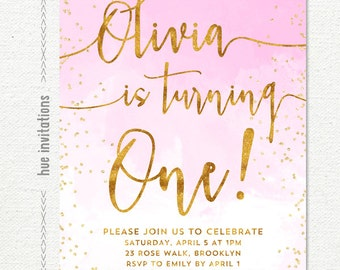 1st birthday invitation for girl, pink watercolor gold glitter blush pink first birthday party invite, printable digital invitation
