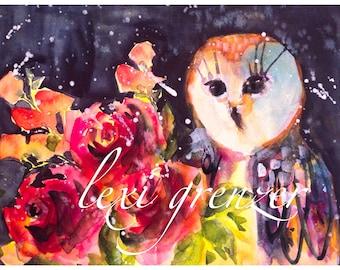 Indigo Owl - Original Watercolor Owl & Roses 8x10