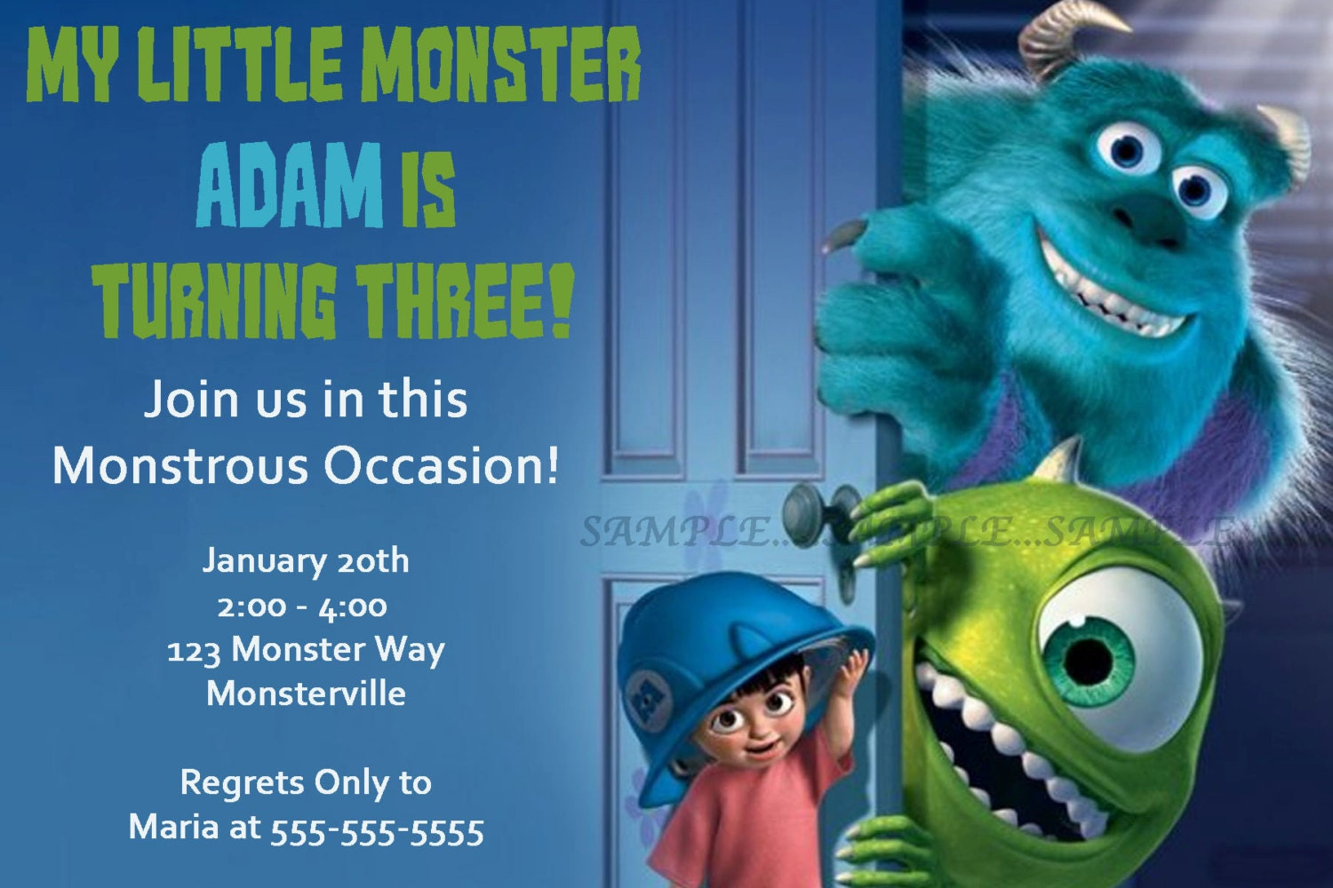 Lovely Monsters Inc Party Invites Contemporary - Invitation Card ...