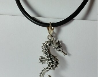 """SALE*** Large 2"""" Sterling Silver Seahorse  with Sterling Silver Rubber Cord necklace 16"""""""