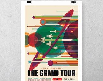 Solar system poster travel-vintage design-nasa JPL