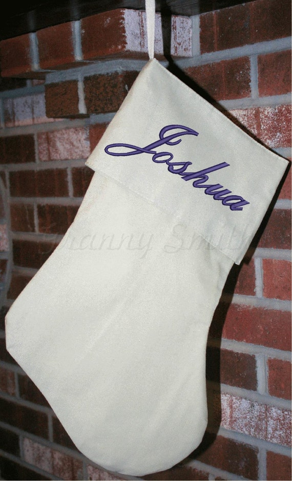 Custom embroidered and personalized large Linen Christmas stocking. Red / White or Linen color. Hand made country Christmas. Fully lined.