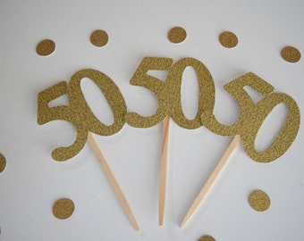 50th Birthday Cupcake Toppers, 50th Birthday, Glitter Cupcake Toppers, Set of 12