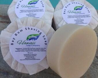 Bay Rum Shaving Soap-Handmade in Hawaii Essential Oils Tussah Silk Kaolin Clay Artisan Unisex