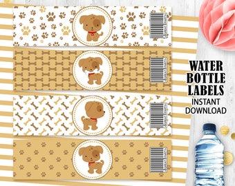 Dog water bottle labels Puppy bottle labels Puppies labels Dogs labels Printable digital labels Instant download