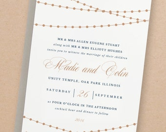 Printable Wedding Invitation Template | Lights | Word or Pages | 100% Editable | Editable Artwork Colors | INSTANT DOWNLOAD