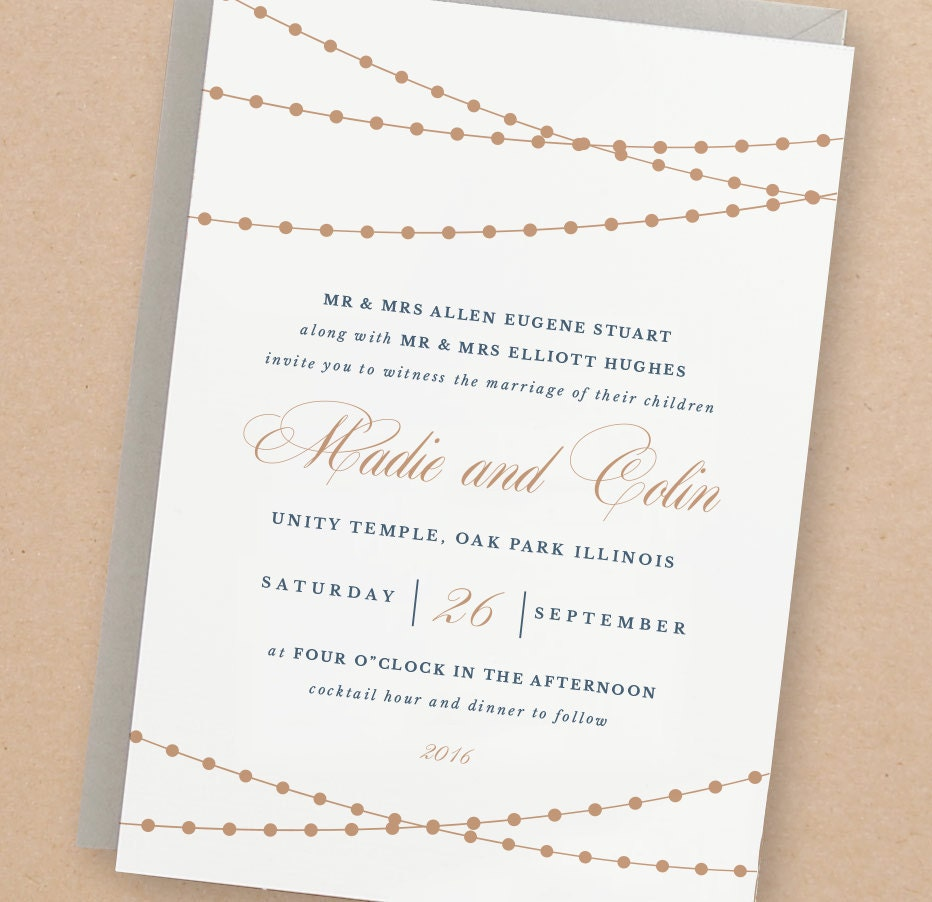Printable Wedding Invitation Template Lights Word Or Pages