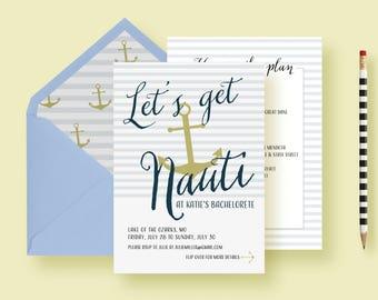 Nautical Bachelorette Party Invitations, Nauti Bachelorette Weekend, Nauti Weekend Itinerary, Sailor Hen Party, Printable or Printed