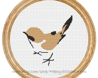 Cross Stitch Pattern PDF bird sparrow DD0023