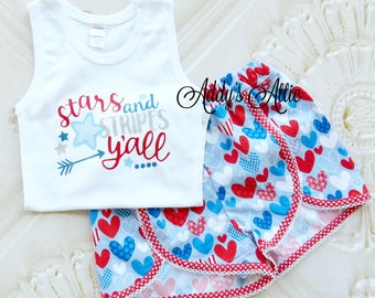 4th of July Outfit, Toddler Shorts Outfit, Toddler Girls Outfit, Independence Day, Glitter Tank Top and Shorts Set, Toddler Clothes