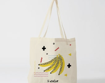 X129Y Tote bag banana fun canvas tote bag, cotton, gift for mother, gift for mum, gift for friend, bag and tote bag, shopping ba