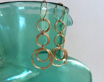 Gold Open Circle Drop Earrings 14kt Gold Fill Hoop Dangles Gold Rings Earrings Coiled Wire Jewelry Gold Wire Wrapped Earrings