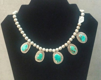 Vintage Sterling Silver Turquoise Bead Necklace 5 Stones Sterling Silver Beads Native American Details Substantial 70.49g total