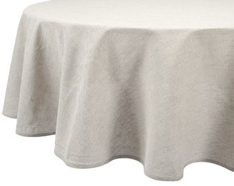 Grey Oval Linen Tablecloth | Natural Linen Round Table Cloth | Hemstitched  Linen Cotton Table Cover