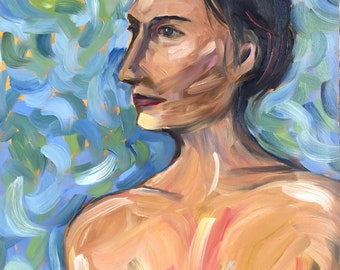 Female Study, Semi Nude, Original Oil Painting, 11 x 14,  Laurie Rubinetti, Figure Study, gessobord, Blue, Green, Woman, Contemporary art
