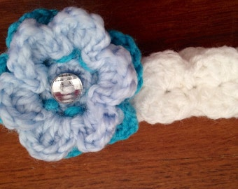 Shell Headband with Double Flower