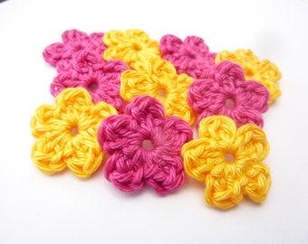 Yellow Sun flowers and mini Rose Fuchsia crocheted 100% cotton-set of 10