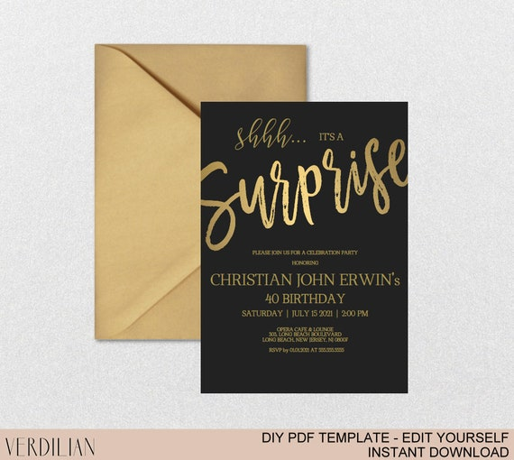 Any age surprise birthday invitation shhh its a surprise any age surprise birthday invitation shhh its a surprise gold birthday invitation for women diy printable pdf instant download vrd200kdg solutioingenieria Images