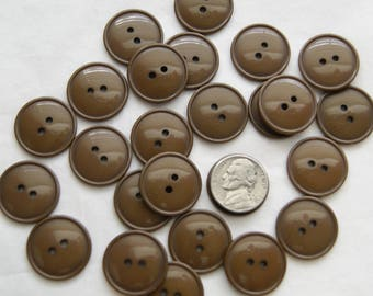 25 Brown Buttons , Dark Brown Matching Buttons, 2 Hole, Thin Rim  (AA 163)