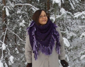 Crochet Triangle Shawl, Merino Wool Shawl, Christmas Gift, Handmade Winter Accessory, Gift for Mom,  Dark Purple