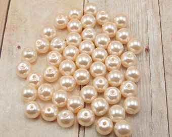 4mm Glass Pearls - Light Peach - Pale Peach - 100 pieces