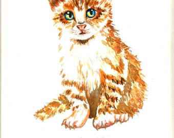 "Art Original Watercolor Animals Pets  ""Red CAT "" Kitty"""